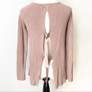 TROUVE NORDSTROM Ribbon BackMauve Pink Sweater